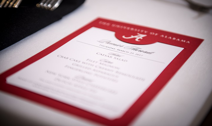 Photo of menu from 2017 banquet